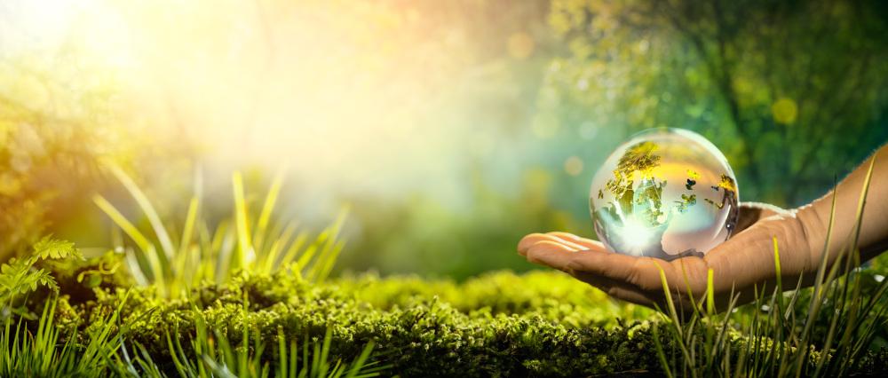 kula ziemska położona na dłoni w tle trawa